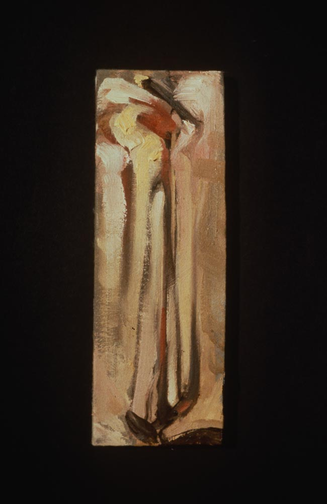 """Untitled (Linear #5). 1997. Oil. 9 x 3"""". Darrin Hallowell"""