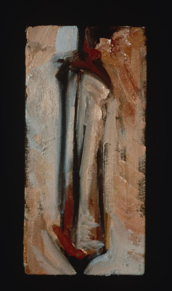"Untitled (Linear #3). 1997. Oil. 12 x 6"". Darrin Hallowell"