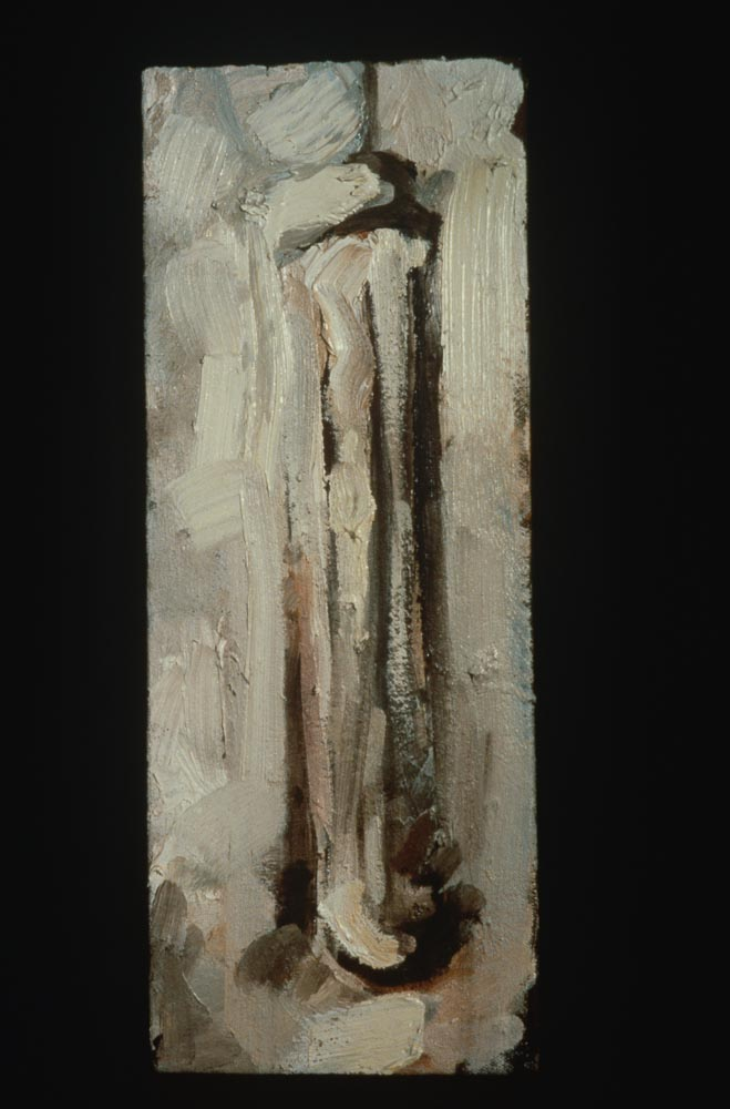 "Untitled (Linear #1). 1997. Oil. 12 x 6"". Darrin Hallowell"