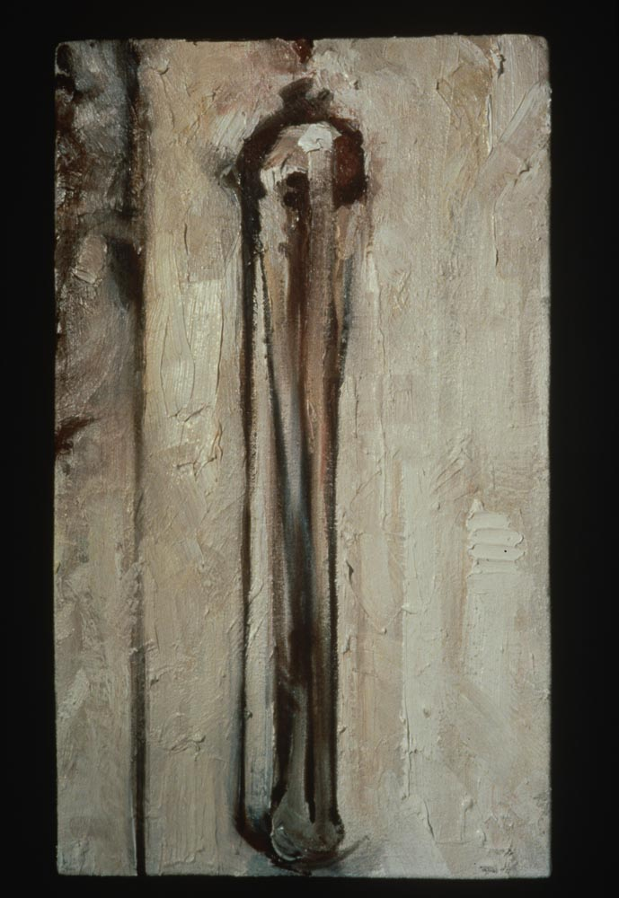 "Untitled (Linear #2). 1997. Oil. 12 x 6"". Darrin Hallowell"