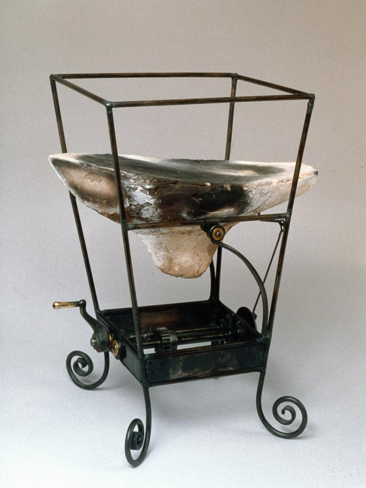 "Kinetic Toy with Boat. 1997. Ceramic, steel. 15x9x10"". Darrin Hallowell"