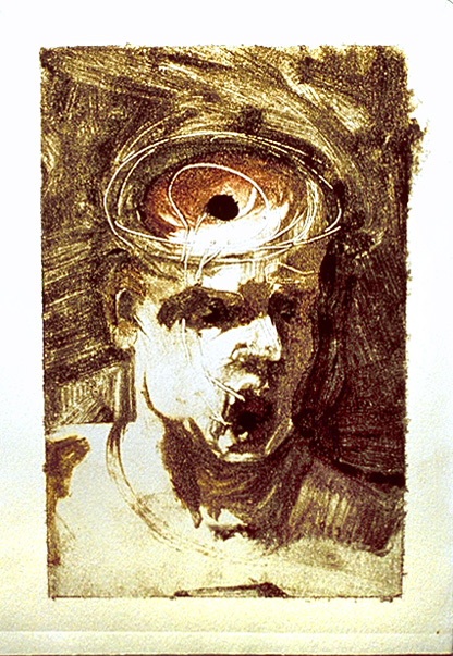 "I Can't Keep My Mouth Shut 1. 1998. Monotype. 9 x 6"". Darrin Hallowell"