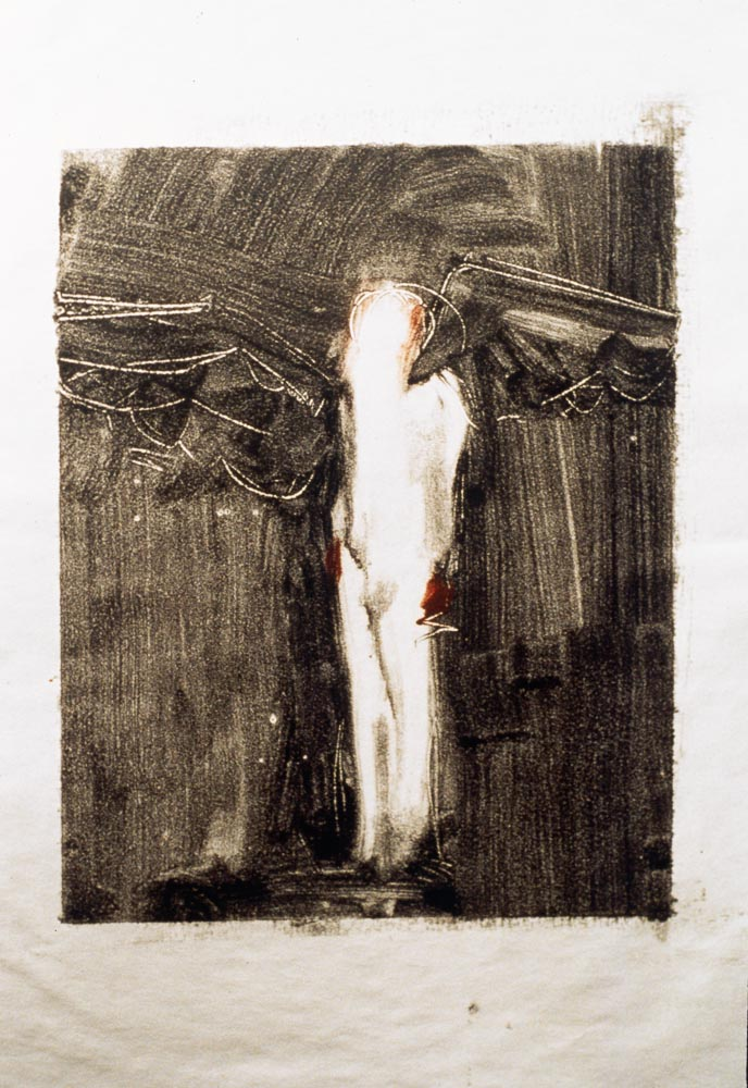 """Untitled (Preliminary Drawing For Sculpture With Wings, Monotype) 2000. 12 x 9"""". Darrin Hallowell"""