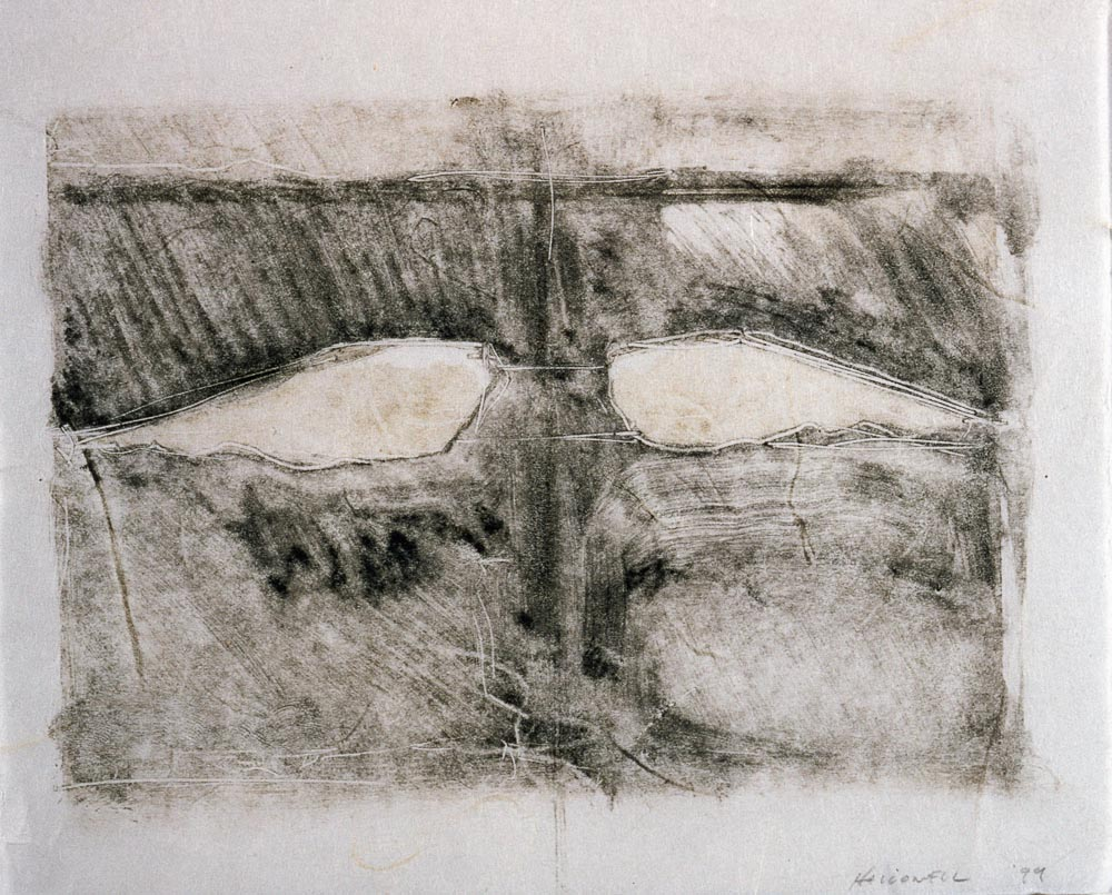 "Untitled (Preliminary Drawing For Sculpture With Wings #1, Monotype) 1999. 8 x 10"". Darrin Hallowell"