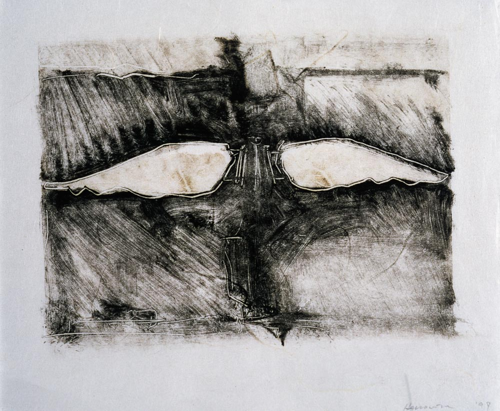 "Untitled (Preliminary Drawing For Sculpture With Wings #2, Monotype) 1999. 8 x 10"". Darrin Hallowell"