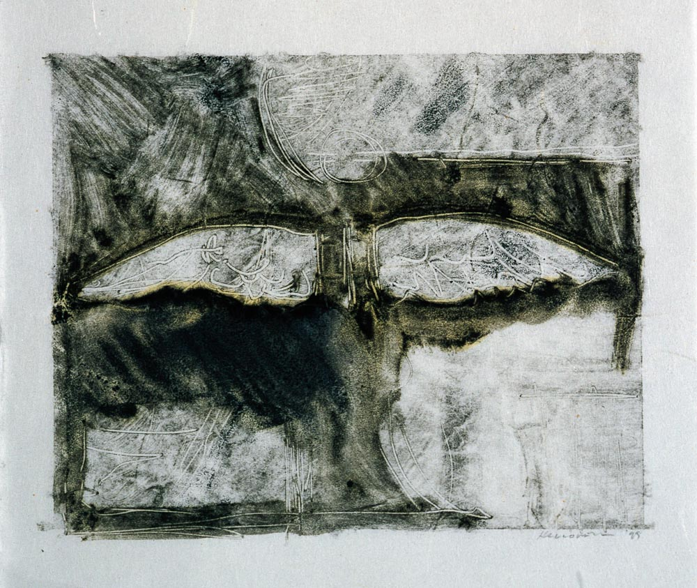 "Untitled (Preliminary Drawing For Sculpture With Wings #4, Monotype) 1999. 8 x 10"". Darrin Hallowell"