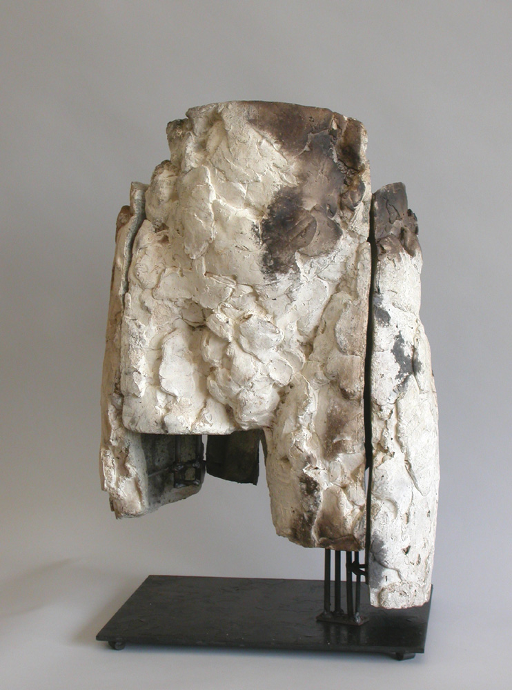 """Untitled (Lower Torsoe 1). 2001. Ceramic and stainless steel. 16 x 14 x 12"""". Front view. Darrin Hallowell"""