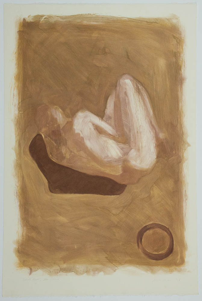 """Figure With Circle. 2001. Monotype. 22¼ x 15"""". Created during a residency at Anchor Graphics, Chicago, Illinois. Darrin Hallowell"""