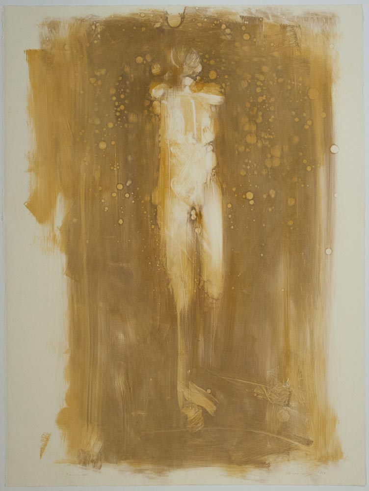 """Shimmer. 2001. Monotype. 29¾ x 22¼"""". Created during a residency at Anchor Graphics, Chicago, Illinois. Darrin Hallowell"""