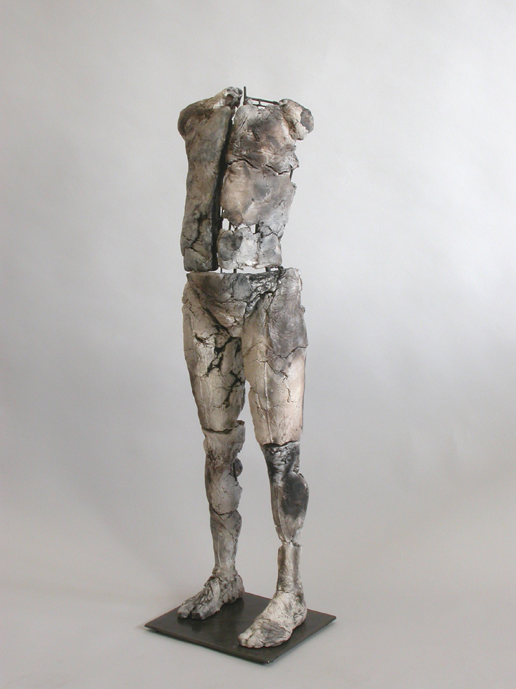 "Child II. 2003. Ceramic, stainless steel.  47 x 15 x 13"". First piece in a series of two. Darrin Hallowell"