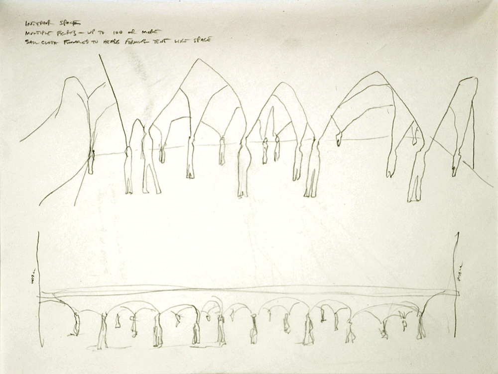 "Untitled (Funnel Installation Drawing). 2005. pencil on paper. 8½ x 11"". Darrin Hallowell"