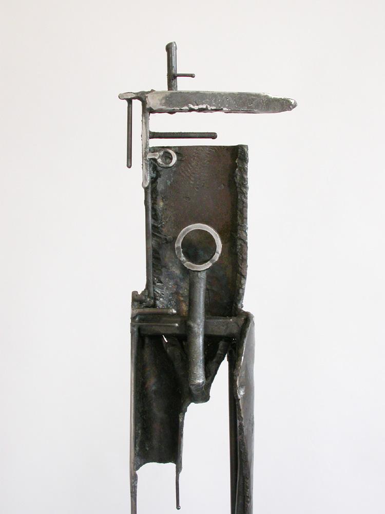 "Bulwark 7D1. 2005. Steel. 65 x 10 x 9"". Detail back. Darrin Hallowell"