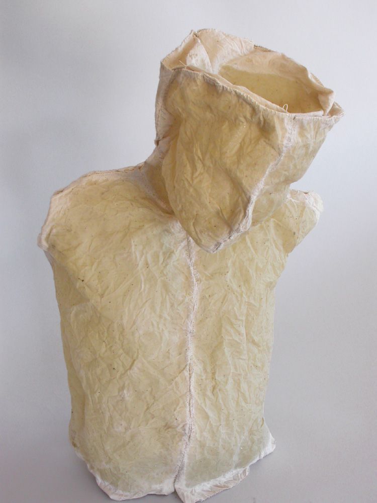 "Nourish. 2005. Linen, resin and thread. 20 x 12 x 6"". Darrin Hallowell"