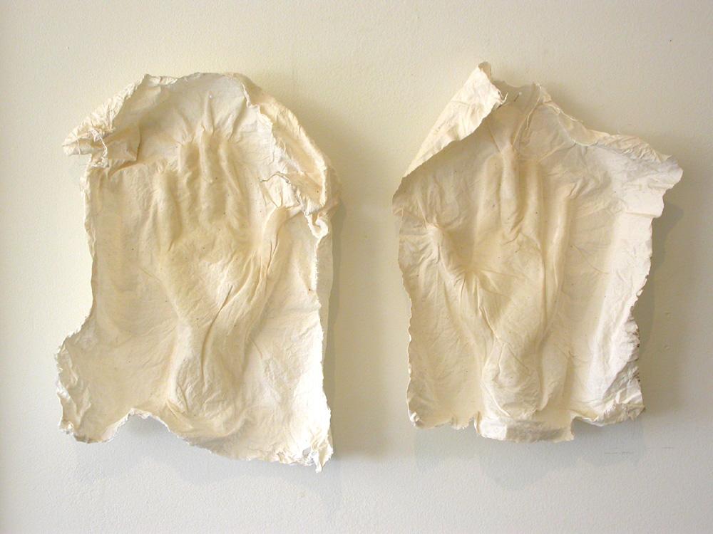 "Palimpsest (Chauvet's Dream). 2007. Muslin, resin, thread. 26 x 17 x 3"". Darin Hallowell"
