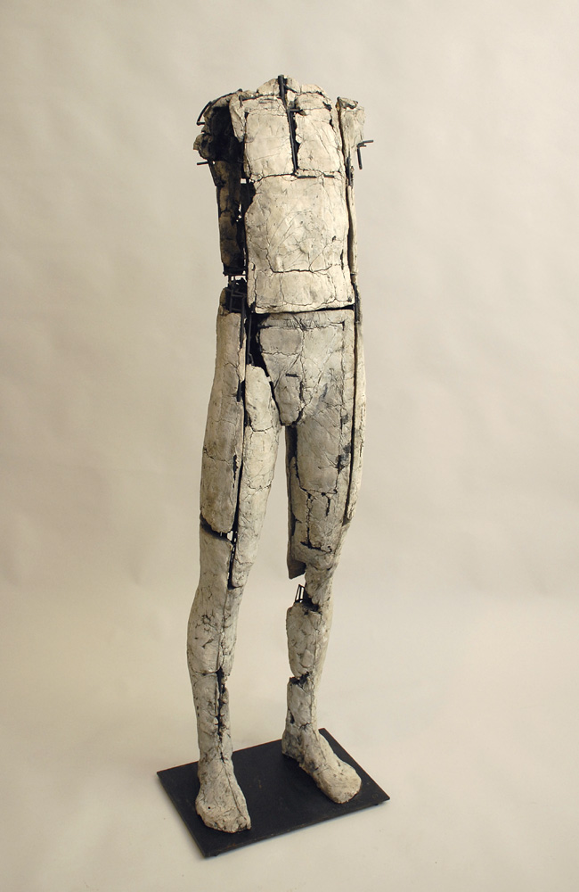 "Untitled Figure. 2007. Ceramic and stainless steel. 59 x 15 x 13"". Darrin Hallowell"