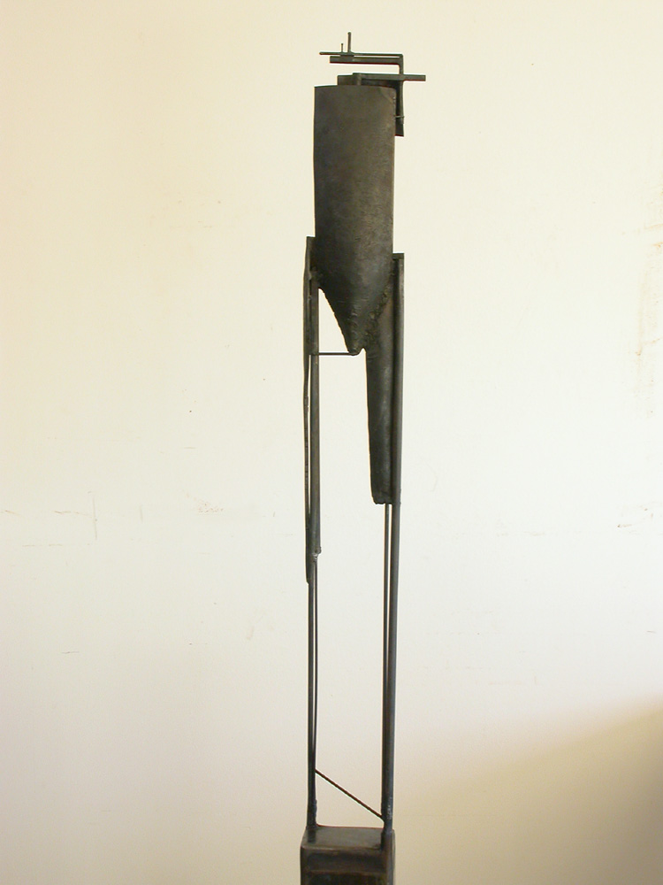 "Bulwark Cycle. 2007. Steel. 70 x 11 x 8"". Front view. Darrin Hallowell"