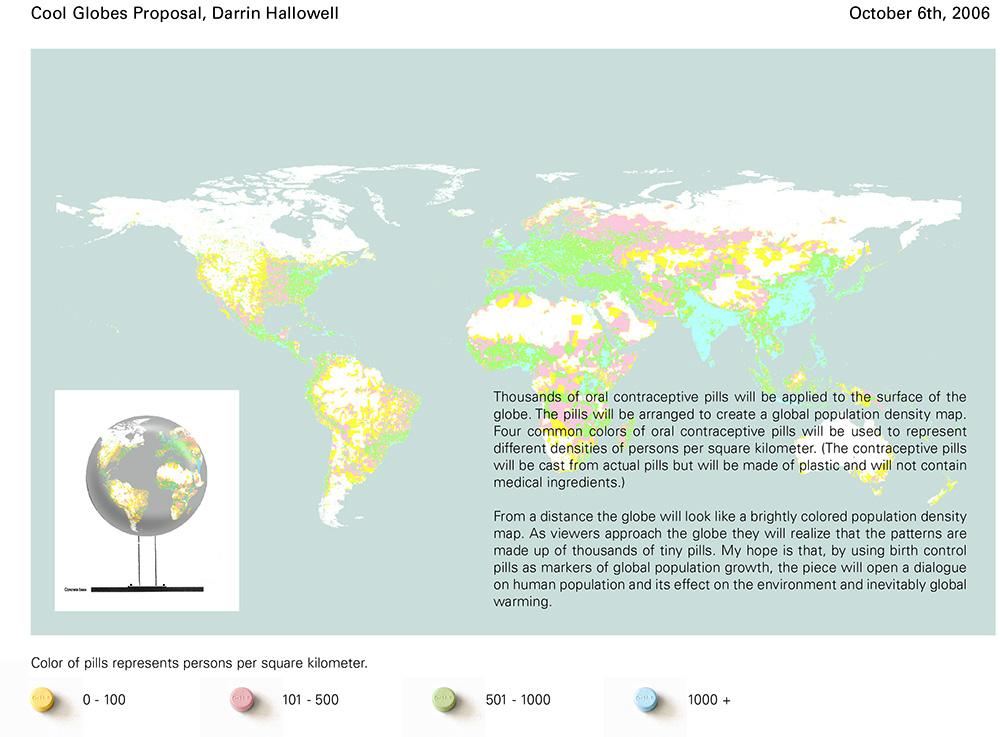 """Population Globe Proposal. 2007. Fiberglass and resin. 56x56x56"""". Darrin Hallowell"""
