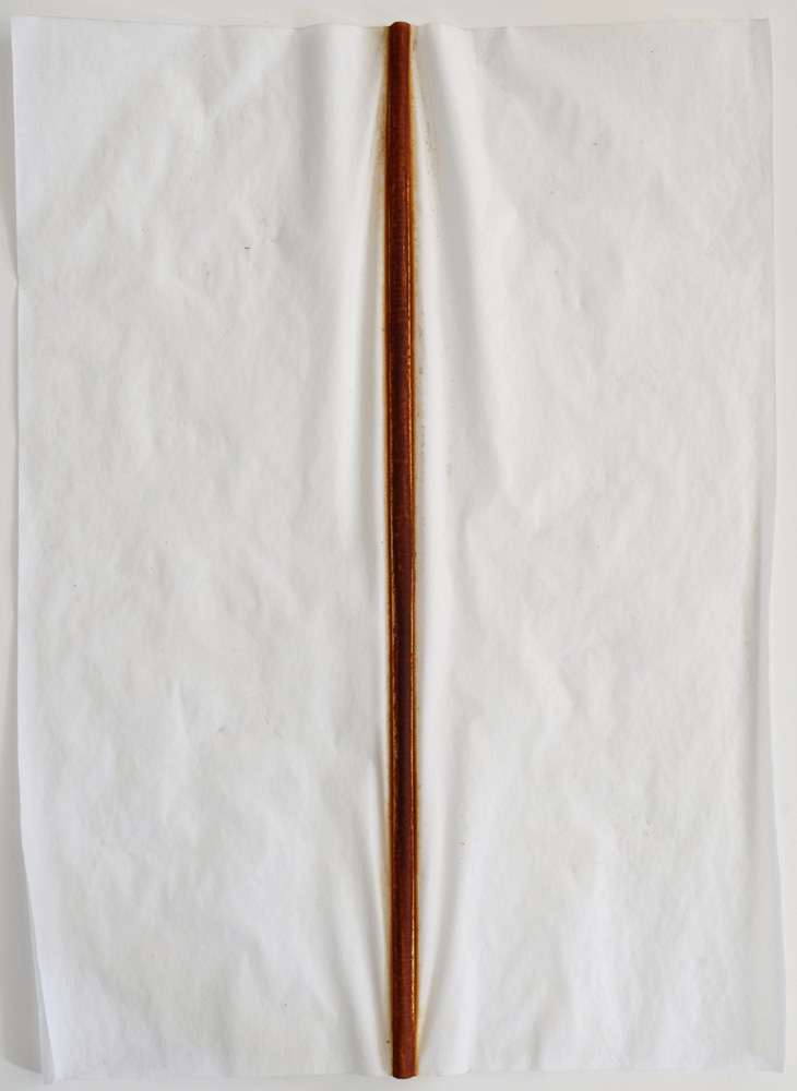 "Untitled (Iron Line). 2010. Iron oxide on vellum. 23½ x 18"". Darrin Hallowell"