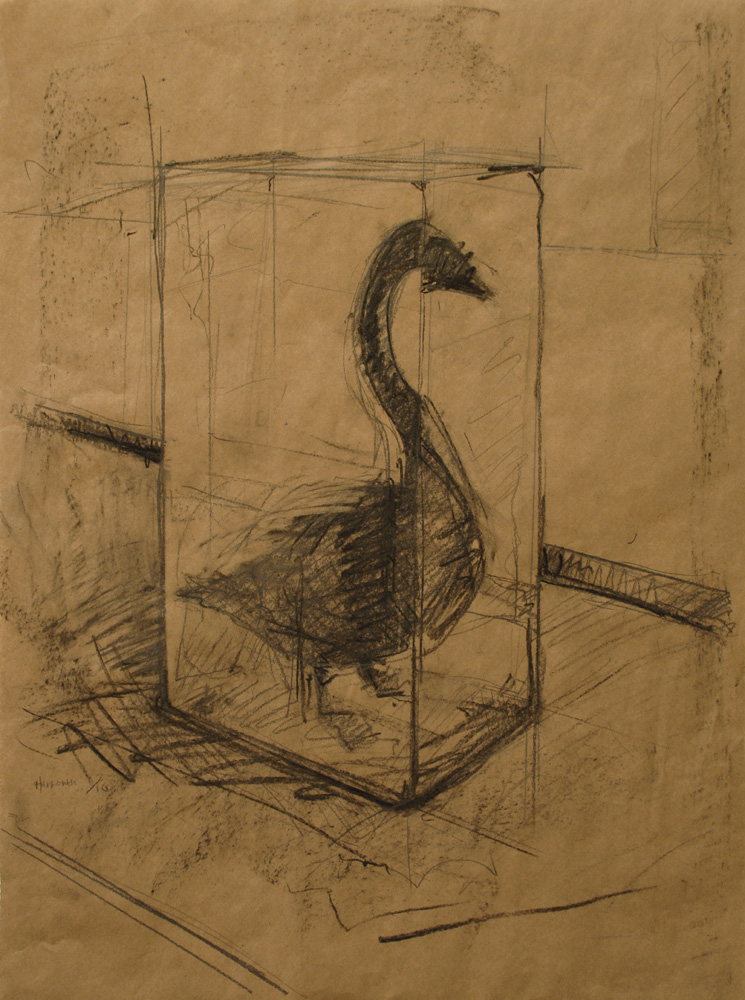 "Untitled (Oil Swan Preliminary Drawing 2). 2010. Charcoal and pencil. 30 x 22"". Darrin Hallowell"