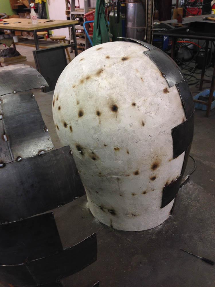 Open Vessel (Intake), Darrin Hallowell, 2014, In progress - Corten Steel over plaster form
