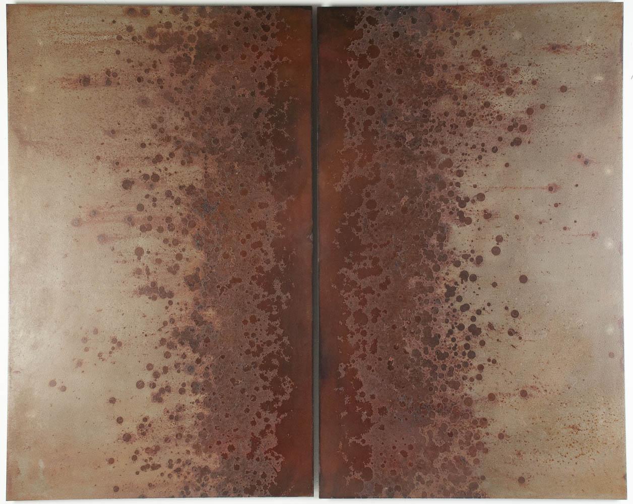 "Iron Bloom (Trail). 2014. Steel, iron oxide. 30 x 37½"". Darrin Hallowell"
