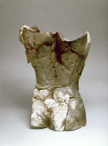 "Manifest. 1998. Ceramic and steel. 18 x 12 x 11"". View Back. Darrin Hallowell"