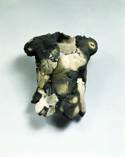 "(Untitled) Child 1. 1998. Ceramic and steel. 15 x 12 x 11"". Darrin Hallowell"