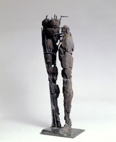 "Brace. 1999. Ceramic, steel. 34 x 10 x 11"". Darrin Hallowell"