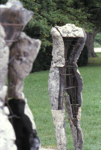 Two Are Halves of One. 2001. Ceramic and stainless steel. Dimensions variable. Detail - view back of figures. Darrin Hallowell