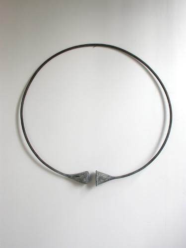 "Circle Funnel (Fist). 2003. Copper. 37 x 37 x 5"". Darrin Hallowell"