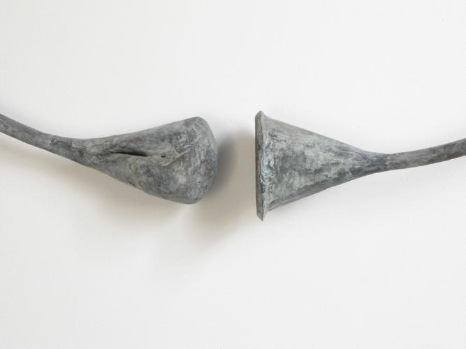 "Circle Funnel (Fist). 2003. Copper. 37 x 37 x 5"". Detail. Darrin Hallowell"