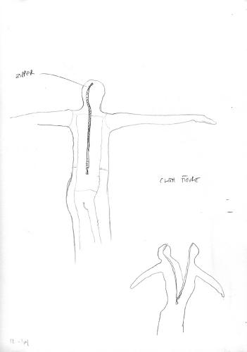 """Muslin Figures (Preliminary Drawing). 2004. Graphite on paper. 8½ x 11"""" Darrin Hallowell"""