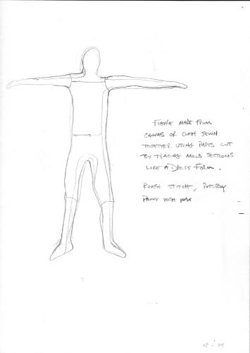 """Muslin Figures (Preliminary Drawings). 2004. Graphite on paper. 8½ x 11"""" Darrin Hallowell"""