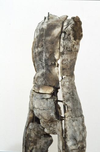 "Untitled Figure. 2004. Ceramic and stainless steel. 59 x 15 x 13"". Darrin Hallowell"