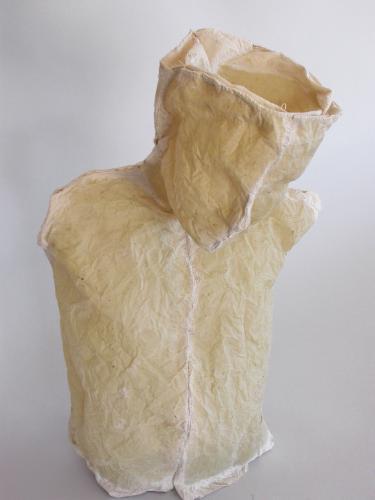 "Nourish. 2005. Linen, resin and thread. 20 x 12 x 6"". Darrin Hallowell"