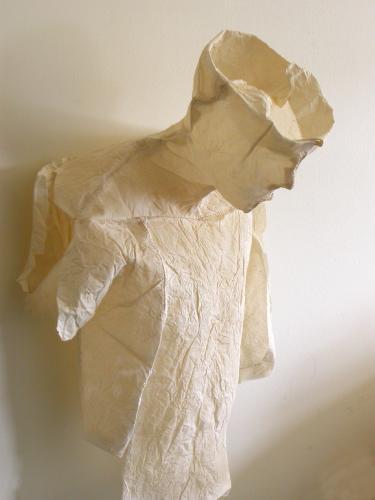 "Waiting. 2007. Muslin, resin, thread. 26 x 16 x 8"". Three quarter view. Darrin Hallowell"