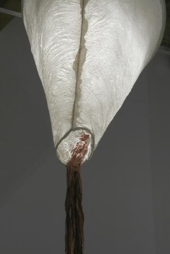 """Ariadne's Clew. 2007. Muslin, resin, thread, iron oxide, stainless steel. 108 x 73 x 108"""" (dimensions variable). Detail 3. Darrin Hallowell"""