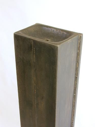"""Intake (With Red). 2007. Top detail. Steel. 58 x 9 x 13"""". Darrin Hallowell"""