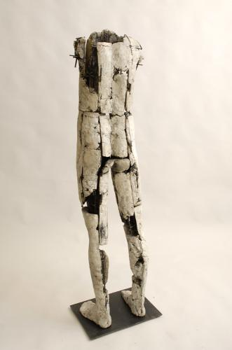 "Untitled Figure. 2007. Back view. Ceramic and stainless steel. 59 x 15 x 13"". Darrin Hallowell"