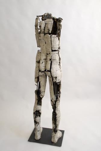 "Untitled Figure (Circle). 2007. Back view. Ceramic and stainless steel. 59 x 15 x 13"". Darrin Hallowell"