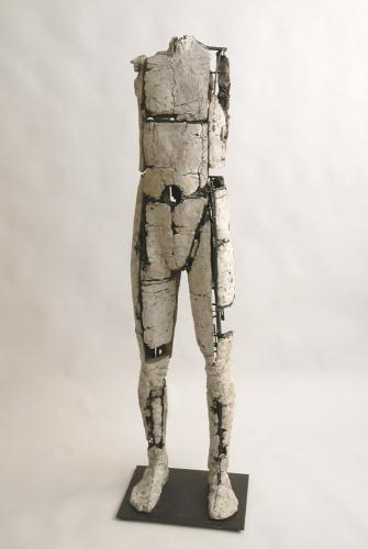 "Untitled Figure (Circle). 2007. Ceramic and stainless steel. 59 x 15 x 13"". Darrin Hallowell"
