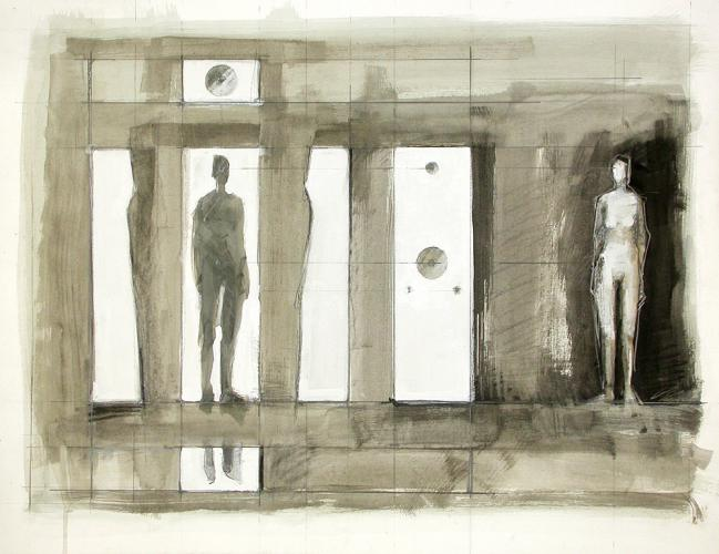 "Untitled (Points of Influence Preliminary Drawing 2). 2007. Guache, charcoal and pencil. 17 x 22"". Darrin Hallowell"