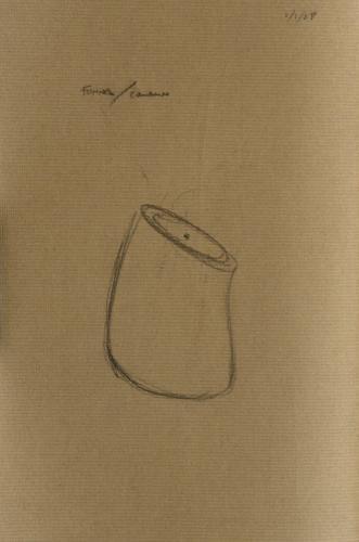 "Untitled Funnel Vessel Drawing (Schmoo). 2008. Pencil on paper. 8 x 10"". Darrin Hallowell"