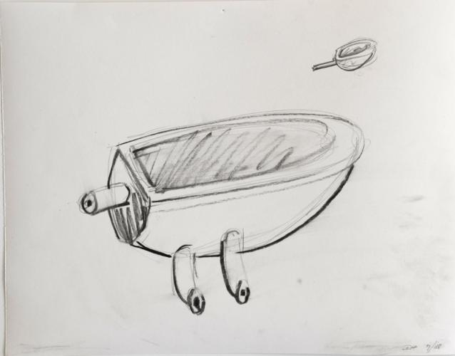 """One to Two Preliminary Drawing. 2008. Pencil on paper. 10 x 12"""". Darrin Hallowell"""