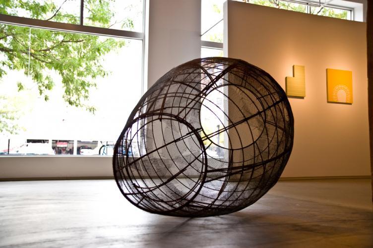 """Open Vessel (Trace). 2009. Steel. 55 x 37 x 37"""". Detail 1. Darrin Hallowell"""