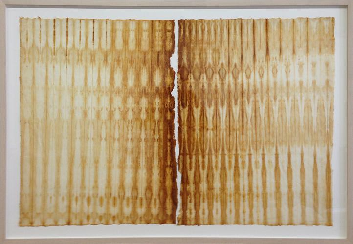 "Untitled (Gathering). 2010. Iron oxide on rice paper. 27 x 40"". Framed view. Darrin Hallowell"
