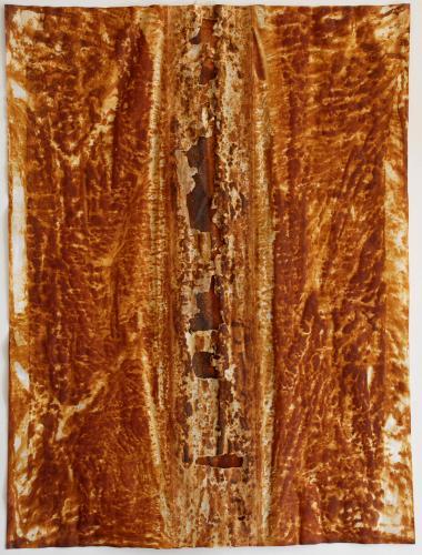 "Split II. 2010. Iron oxide on vellum. 23½ x 18"". Darrin Hallowell"