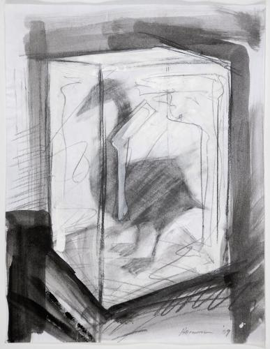 "Untitled (Oil Swan Preliminary Drawing 1). 2010. Charcoal, guache and pensil. 11 x 8 1/2"". Darrin Hallowell"