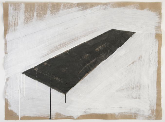 "Untitled (Oil Pool Preliminary Drawing). 2010. Charcoal gouache and pencil. 22 x 30"". Darrin Hallowell"