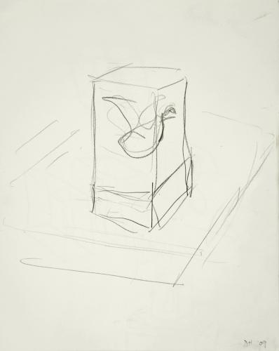 """Untitled (Oil Swan Drawing). 2008. Pencil. 11 x 9"""". Darrin Hallowell"""